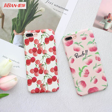 JIBAN Fruit Cherry Peach Phone Case For iPhone 6 6s Cartoon Ultra Slim Hard Full Protect Back Cover for iphone 6P 7 7plus Coque