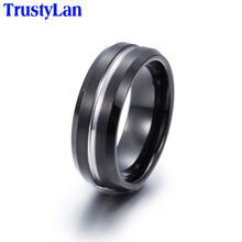 TrustyLan Fashion Men Jewelry Black Pure Tungsten Steel Rings For Men Cool Classic Personality Gift Mens Rings Big Size 12 13(China)