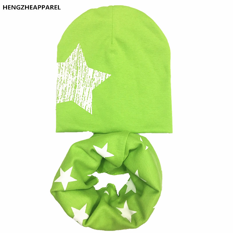 new winter warm crochet cotton baby scarf hats sets star stripped kids O ring collars hats suits infant toddler head wear caps