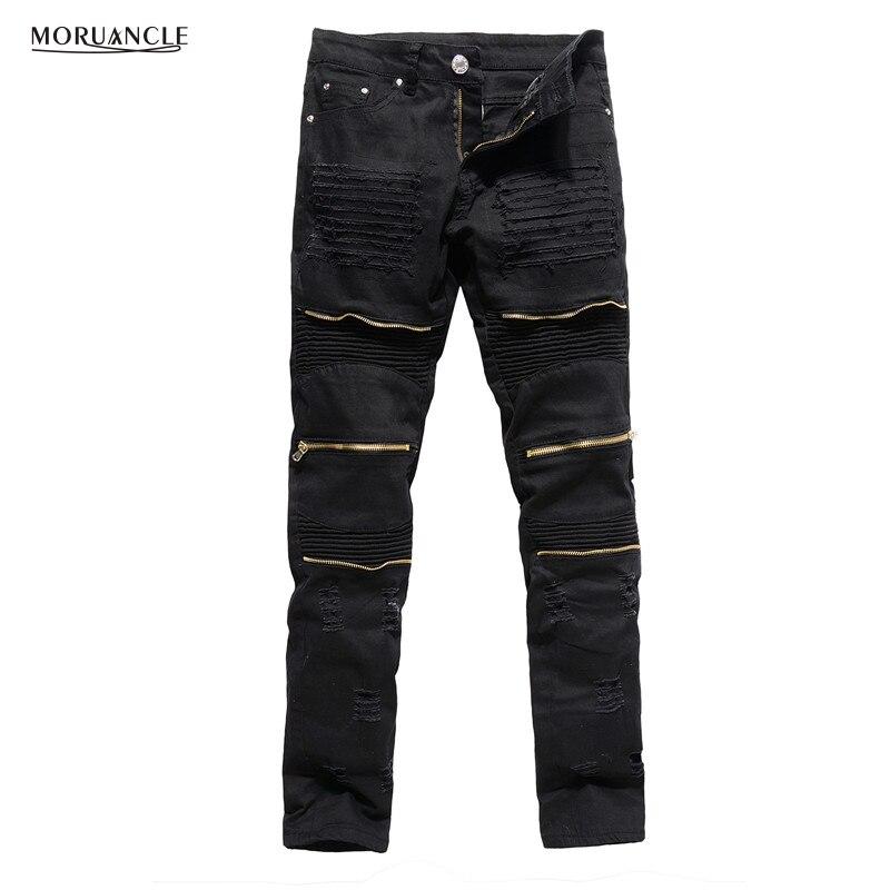 MORUANCLE Mens Designer Ripped Biker Jeans Slim Fit Distressed Moto Stretch Denim Trousers For Male Gold Zipper Red Black WhiteÎäåæäà è àêñåññóàðû<br><br>
