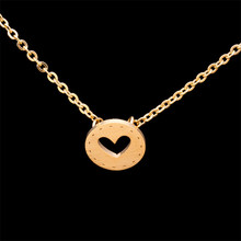 Gold Color Stainless Steel Heart Button Pendant Necklace Modern Minimalist Design Women Jewelry Valentine's Day Gift Necklace