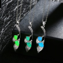 Fashion Women Jewelry Silver Plated Glowing Luminous Stone Leaf Link Chain Pendant Necklace