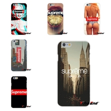 For iPhone 4 4S 5 5S 5C SE 6 6S 7 Plus Fashion Popular Brand Logo Suprem Case Transparent Silicone soft slim Phone Cover