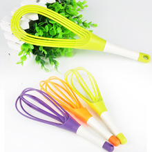 Rotatable Whisk Eggbeater for Kitchen Gadgets Stirring Whisk Mixer Multifunctional Rotary Egg Beater Random Color