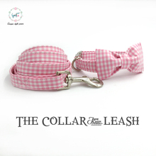 pink and white dog collar and leash set with bow tie personal custom adjustable pet pupply 100% cotton dog birthday gift(China)