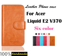 High Quality Leather Case For Acer Liquid E2 V370 Six colors Cover with card bag in stock Free Shipping.(China)