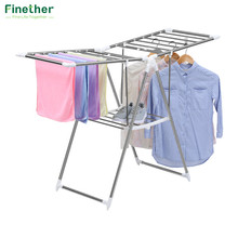 Finether Space-Saving Clothes Hanger Laundry Clothing Organization Adjustable Rolling Garment Rack Clothing Storage Organizer(China)