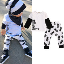0-3Y Toddler Kids Baby Boy Clothes Cool Design Autumn Spring Long Sleeve Top Shirt Pant 2pcs Outfit Children Clothing Set
