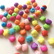 Meideheng acrylic cat The wheel beads two choose Smooth surface grinding beads for Jewelry making necklace accessories 10mm/11mm(China)