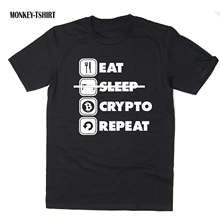 Buy Eat Sleep Crypto Repeat T-Shirt Funny BTC ETH LTC Crypto Bitcoin 6 colours for $12.99 in AliExpress store