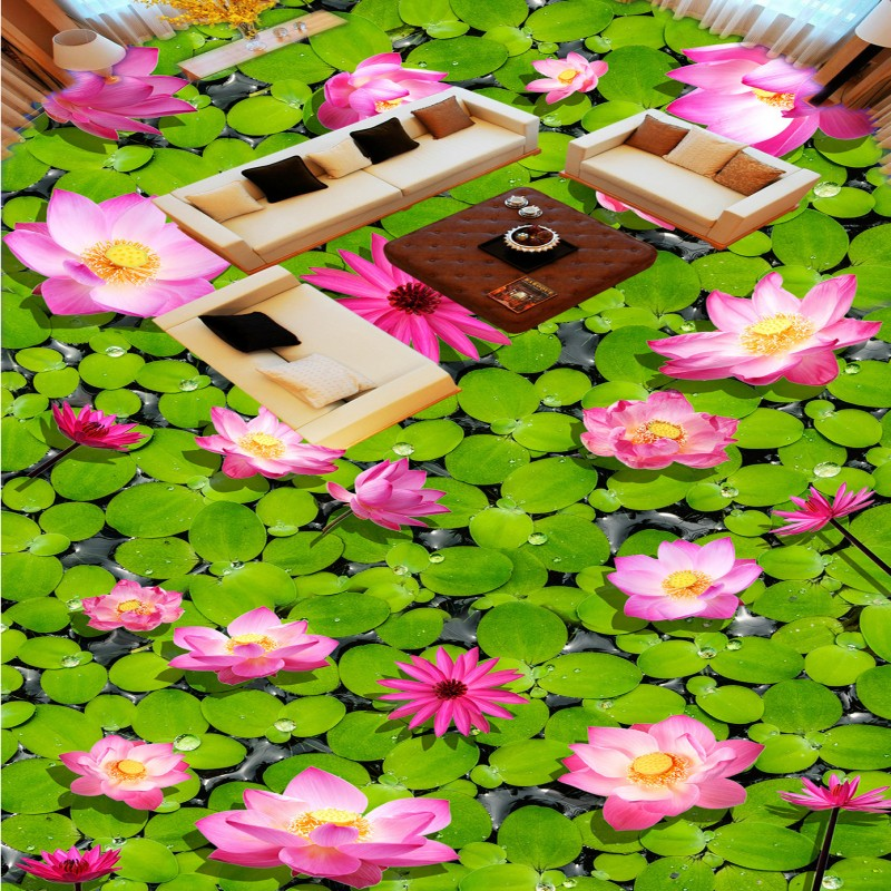 Free Shipping Chinese style Pond carp lotus 3D flooring painting wallpaper thicken lobby hotel aisle floor mural<br>