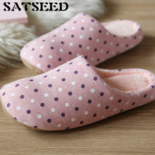Buy Lovers Warm Autumn Winter Soft Floor Home Slippers Cotton Slippers Couple Indoors Slippers Women Home Shoes Polka Dot Fashion for $11.99 in AliExpress store