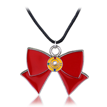 New Fashion Anime Sailor Moon Necklace Jewelry Enamel Red Bow Charms Pendant Necklace for Girls(China)