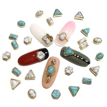 Japanese Korean Trend nail style 50pcs latest metal gold base plus crack turquoise stone design 3D nail art alloy jewelry(China)