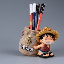 Japanese Anime One Piece Luffy Resin Office Pen Holders Collectible Monkey D Luffy 10cm Desk Pencil Pot Holder Kids Figure Toys