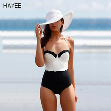 2017 Black White Halter Push up Swimsuit One Piece Swim Suit High Waist Swimwear Plus Size Bathing Suit Swimming Suit for Women