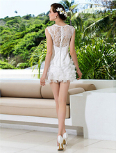 Ultra-feminine Sweet Chic Eye-catching Full Lace Back Matching Destination Wedding Sheath/Column Jewel Short Mini Wedding Dress