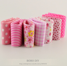 2015 new 7pcs/ lot 100%cotton pink sets fabric trips 5cmx100cm jelly roll quilting fabric patchwork textile sewing toys tildas(China)