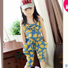 Kids Girls Baby Heart Pattern One Piece Jumpsuit Playsuits Harem Pants 2-7 Years