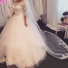 Wedding Dresses Princess ball gown 3/4 Sleeve Dresses Vintage Gowns Floor Length New Design Bridal Gowns