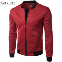 New Wine Red Jacket Men 2017 Spring Fashion Design Mens Slim Fit Zipper Baseball Jacket Casual Brand College Varsity Jacket Xxl(China)