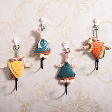 Rabbit design Creative Iron Resin Robe Hook wall Door decoration Coat Clothes Hook fashion Hat Towel Key hanger