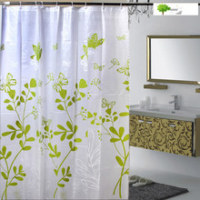 Modern beautiful 803 butterfly leaves green PEVA shower curtain thickening waterproof to send the hook bathroom shower curtain(China)