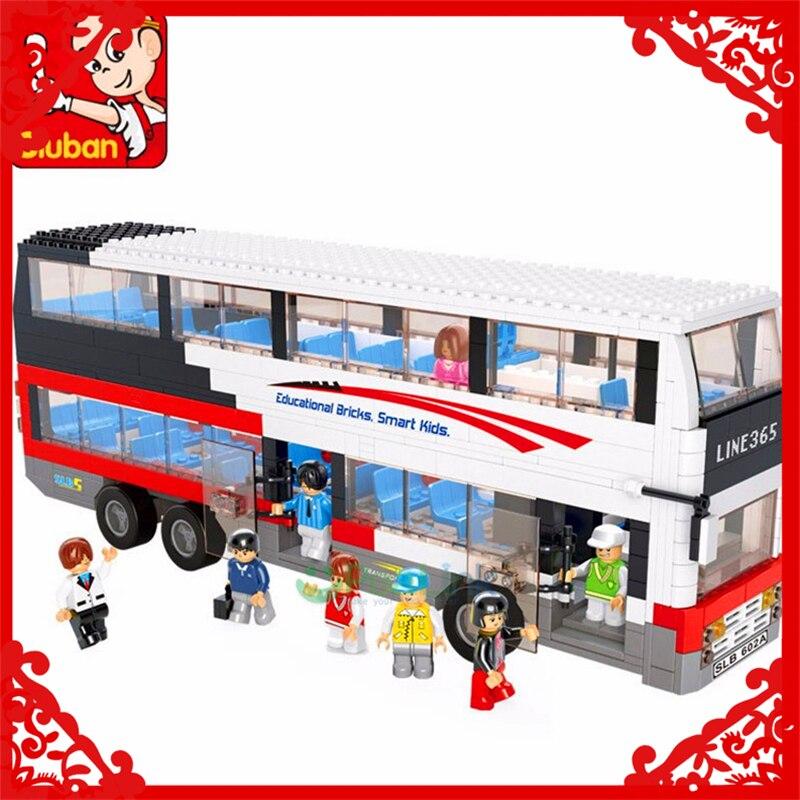 SLUBAN 0330 741Pcs City Series Tour School Bus Model Building Block Construction Figure Toys Gift For Children Compatible Legoe<br>