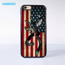 Browning Deer American Flag Cell Phone Protective Case For iPhone X 8 8+ 7 7+ 6 6S Plus SE 5 5S 5C 4 4S Hard Plastic Cell Cover(China)