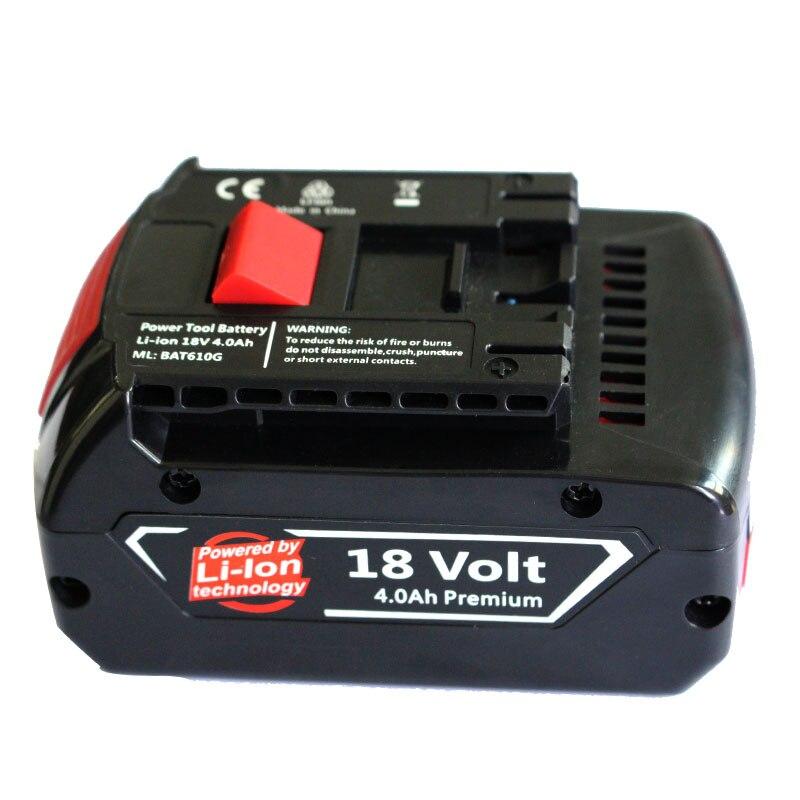 BAT610G Electric Drill Accessory Li-ion Battery 18V 4000mAh For Bosch 4Ah BAT609 BAT609G BAT618 BAT618G 2 607 336 236 Tool parts<br>