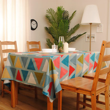 New Arrvial Home Decoration Table cloth Colorful Canvas Cotton Square Table Cover 140*180cm Accept customized(China)