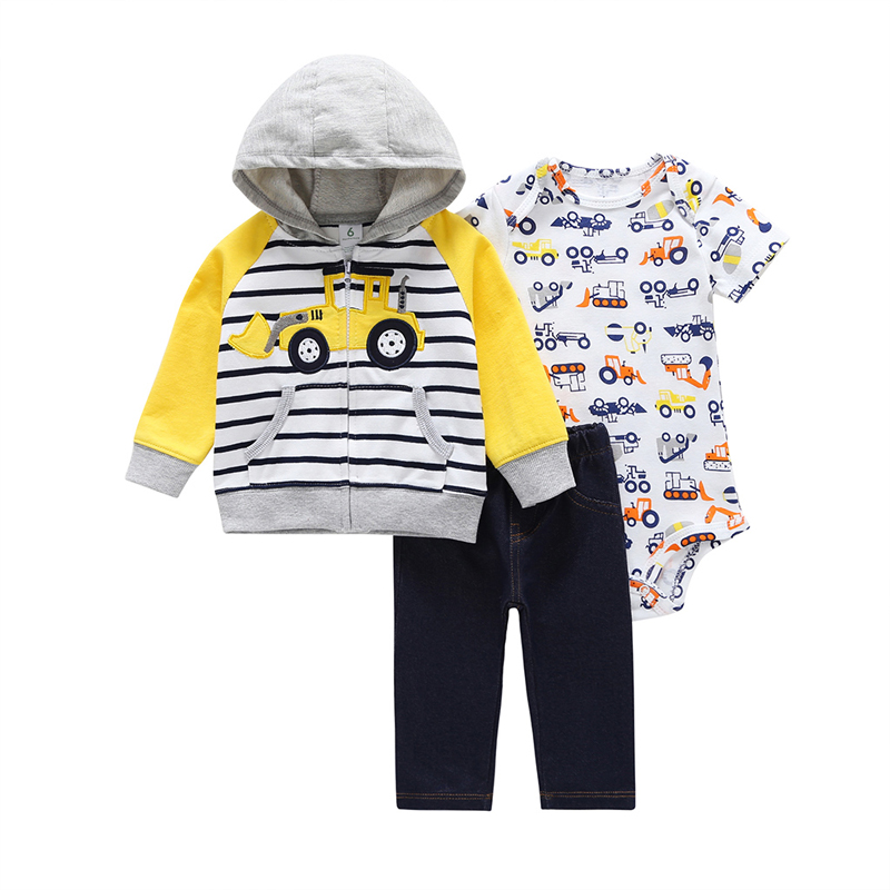 hooded coat+romper+pants for baby boy clothes set newborn outfit 2019 new born clothing suit babies costume infant tracksuit