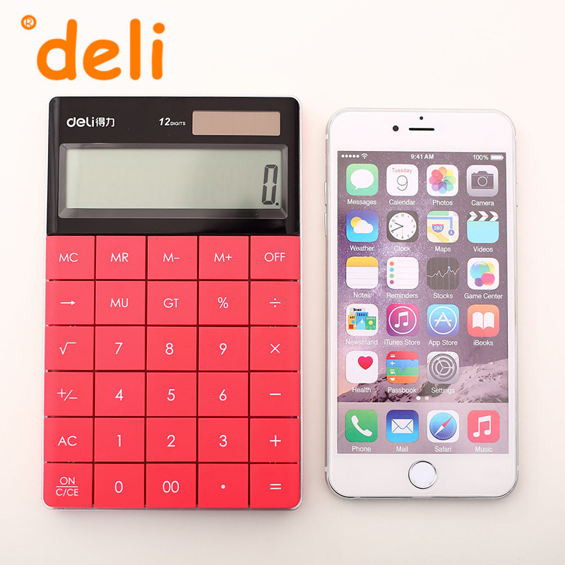 Deli 1589 High Quality Colorful Big Buttons Solar Calculator Pocket Office Electronic<br><br>Aliexpress