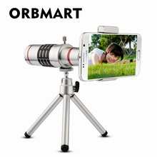 ORBMART Universal 18X Zoom Optical Telescope With Mini Tripod For Samsung iPhone Xiaomi Redmi Note Meizu Mobile Phone Lenses(China)