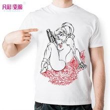 Fashion Nude Design T Shirt Girl Blue Eye Hold Gun Sit On Red Skeleton T-shirt Printed Naked Novelty Style Tshirt Men