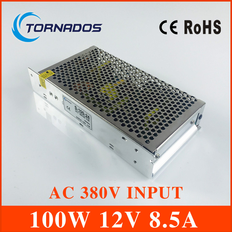 AC 380V input 12V 8.5A output 100W switching power supply of high reliability industrial switch power supply<br>