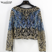 2017 Bling Sheer Body Crop Top Blusas Feminina Lace Mesh Long Sleeve Floral Embroidery Sequin Beading Women Shirt Blouse Top(China)