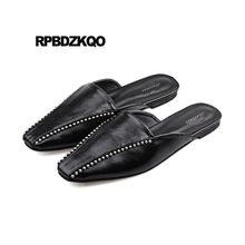 sandals chinese 2018 rivet summer autumn shoes black ladies brand designer  slippers korean slides women leather studded mules 5c5da881d050