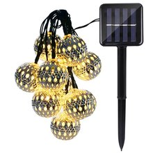 Solar Globe 10 LED Outdoor String Lights Moroccan Ball String Fairy Lantern Solar Lamp For Christmas Garden Home Decoration