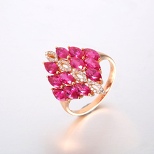 Robira Trendy Women's Ring 2017 Brand New and High Quality 18K Rose Gold Jewelry Natural Ruby and Diamond Fashion Rings
