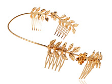 Vintage Inspired Golden Metal Tone Symmetrical Rose and Leaves Head Band