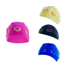 Durable Print Flower Swim Caps Waterproof Polyester Protect Ears Long Hair Sports Swim Pool Swimming Cap(China)