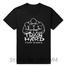 summer Mens T-shirt Bodybuilding Undershirt Fitness Men Train hard fight easy T Shirt Top Tees(China)