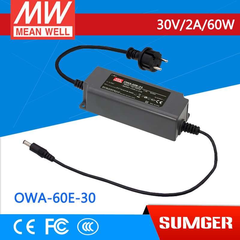 1MEAN WELL original OWA-60E-30 30V 2A meanwell OWA-60E 30V 60W Single Output Moistureproof Adaptor Euro Type<br>