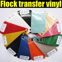 0.5*25meter Flocking Heat Transfer Vinyl For Plotter Transfer in 12 Colors BY Free shipping