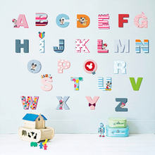 Carton Mickey Mouse 26 DIY English Letters Teaching Tools For Kids Baby Nursery Name Wall Stickers Decor Decal(China)