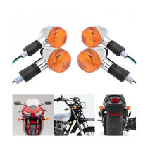 4PCS 12V Motorcycle Amber Chrome Bullet Front Rear Turn Signal Blinker Indicator Light For Honda Free Shipping&Wholesale