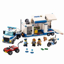 60139 Police Mobile Command Center 374 Pcs Mini Bricks City Series The Moving Car Building Blocks Toys For Children(China)