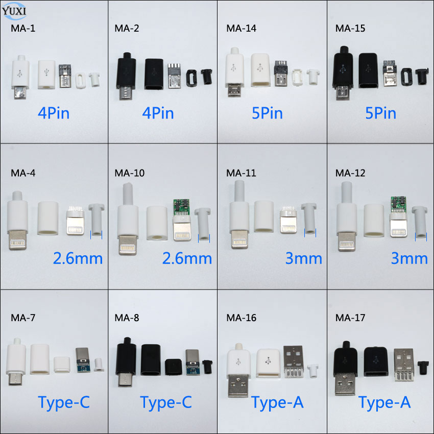 YuXi 10pcs DIY Micro USB Welding Type Male 4 5 Pin Plug Connector w/Plastic Cover Type A Type C for iPhone male Plug 8Pin