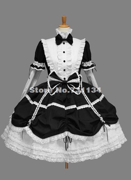 Inexpensive Unique Single breasted Bow Gothic Lolita Dress 2017(China (Mainland))
